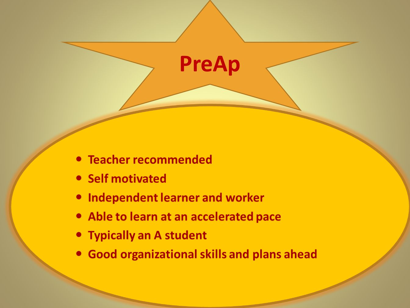 PreAp Teacher recommended Self motivated