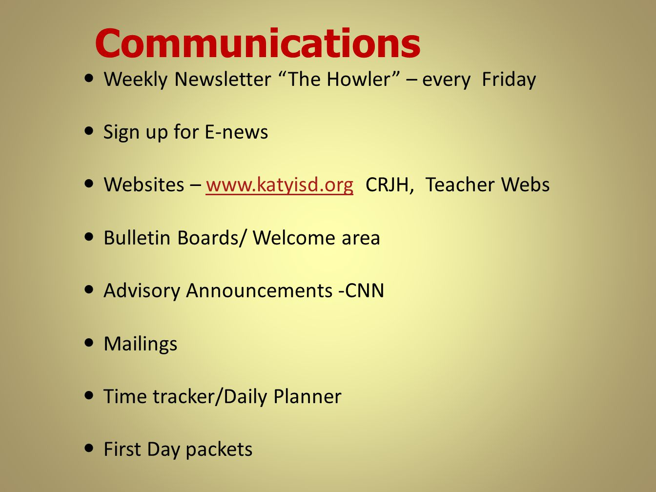 Communications Weekly Newsletter The Howler – every Friday