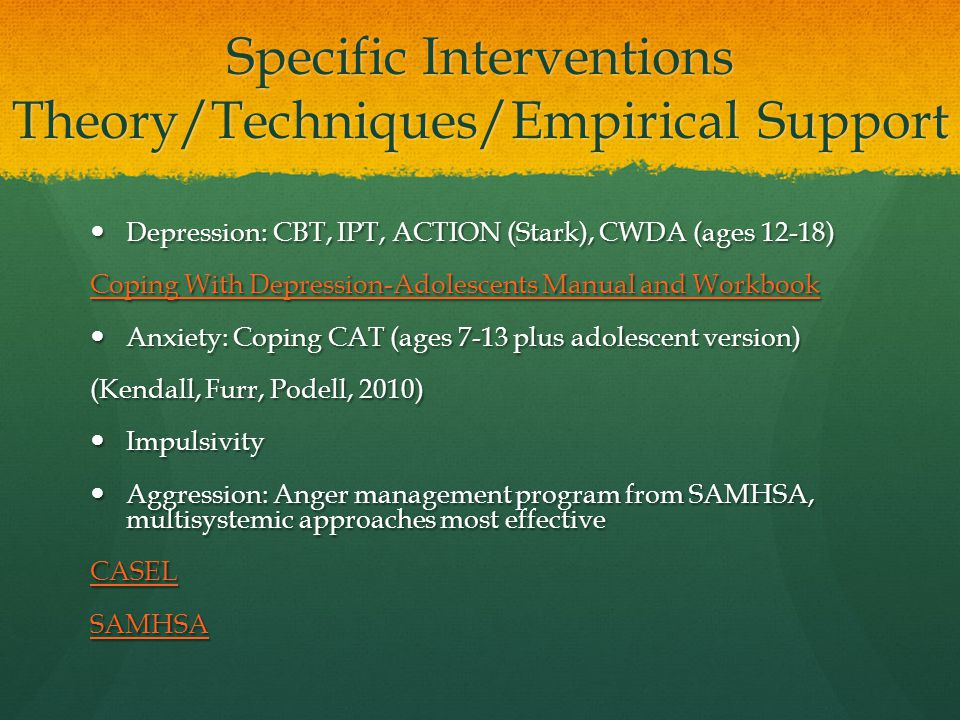 Specific Interventions Theory/Techniques/Empirical Support