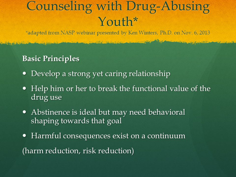 Counseling with Drug-Abusing Youth