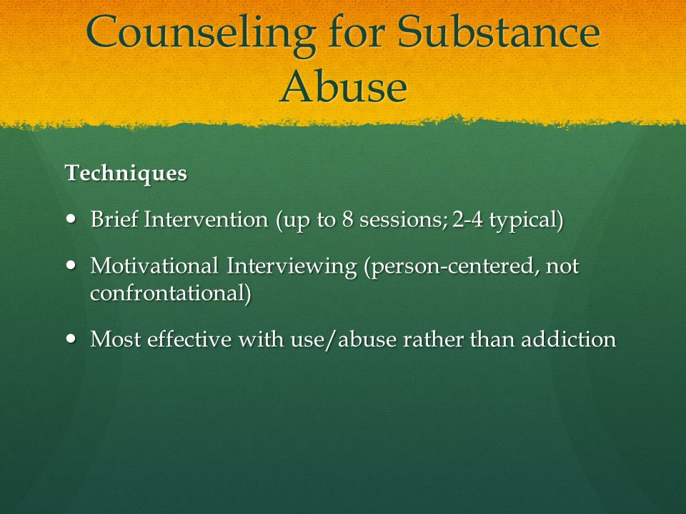 Counseling for Substance Abuse