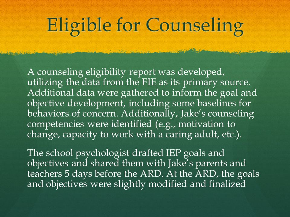 Eligible for Counseling
