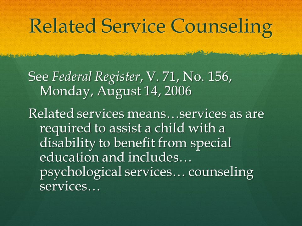 Related Service Counseling