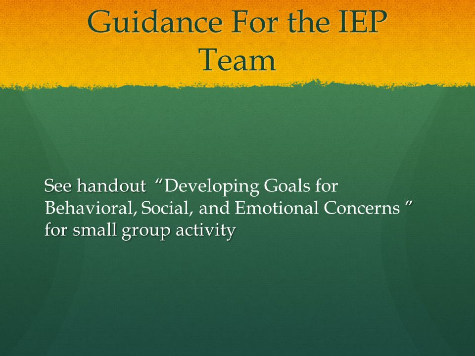 Guidance For the IEP Team