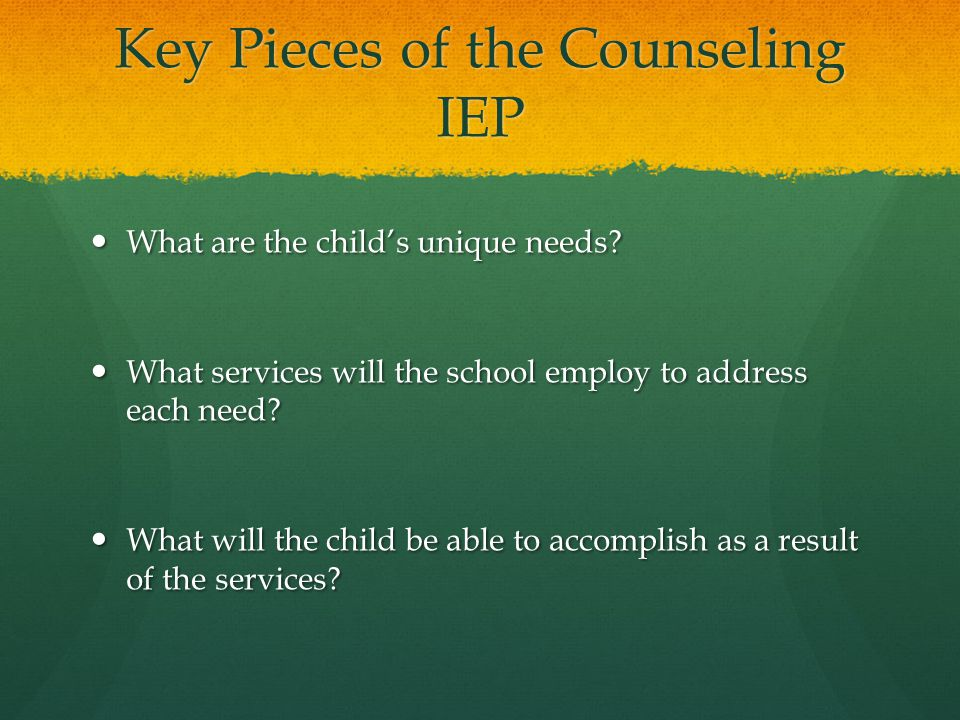 Key Pieces of the Counseling IEP