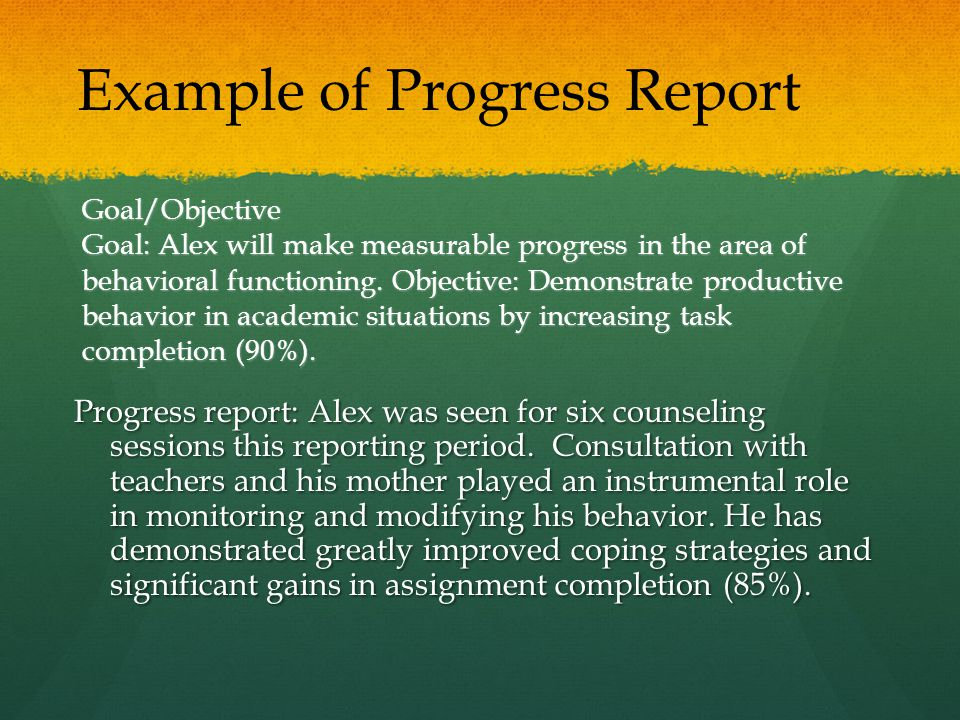 Example of Progress Report