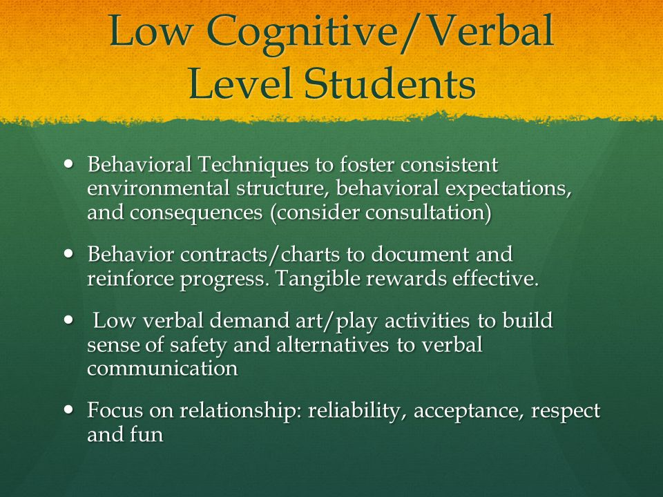 Low Cognitive/Verbal Level Students