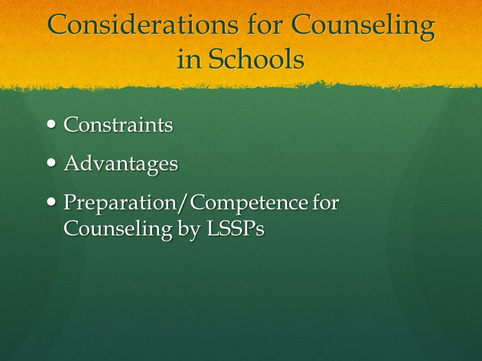 Considerations for Counseling in Schools