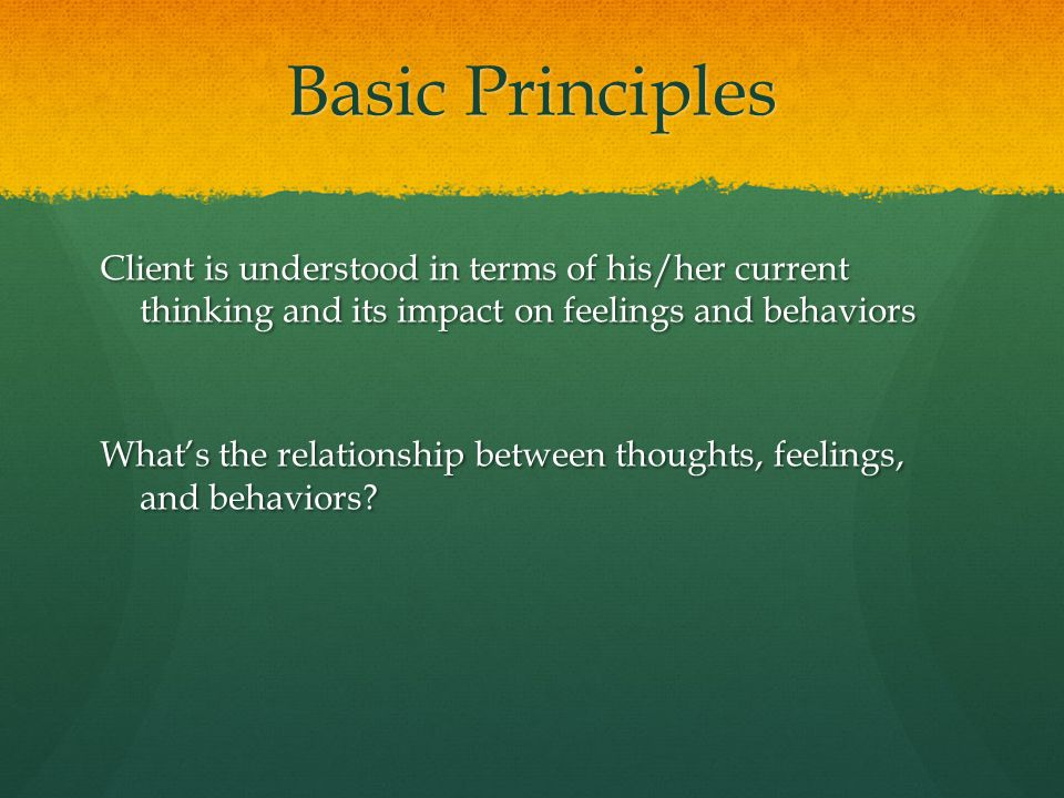 Basic Principles Client is understood in terms of his/her current thinking and its impact on feelings and behaviors.