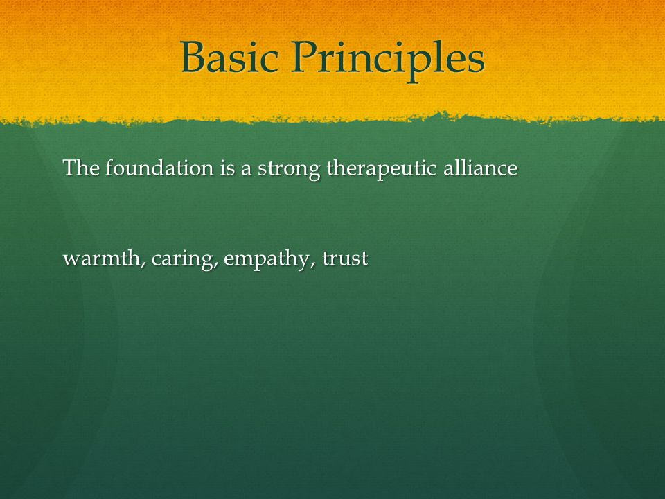 Basic Principles The foundation is a strong therapeutic alliance