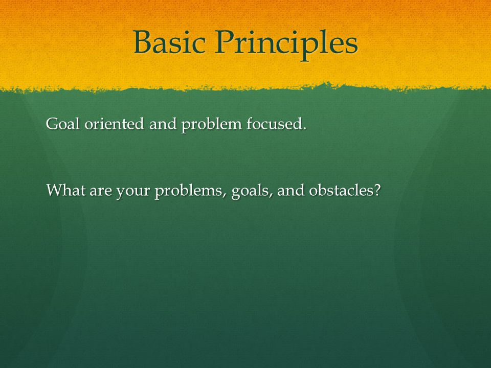 Basic Principles Goal oriented and problem focused.