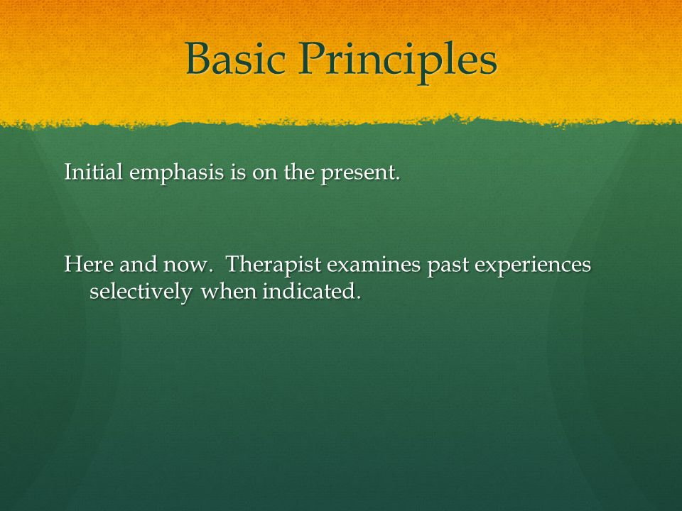 Basic Principles Initial emphasis is on the present.