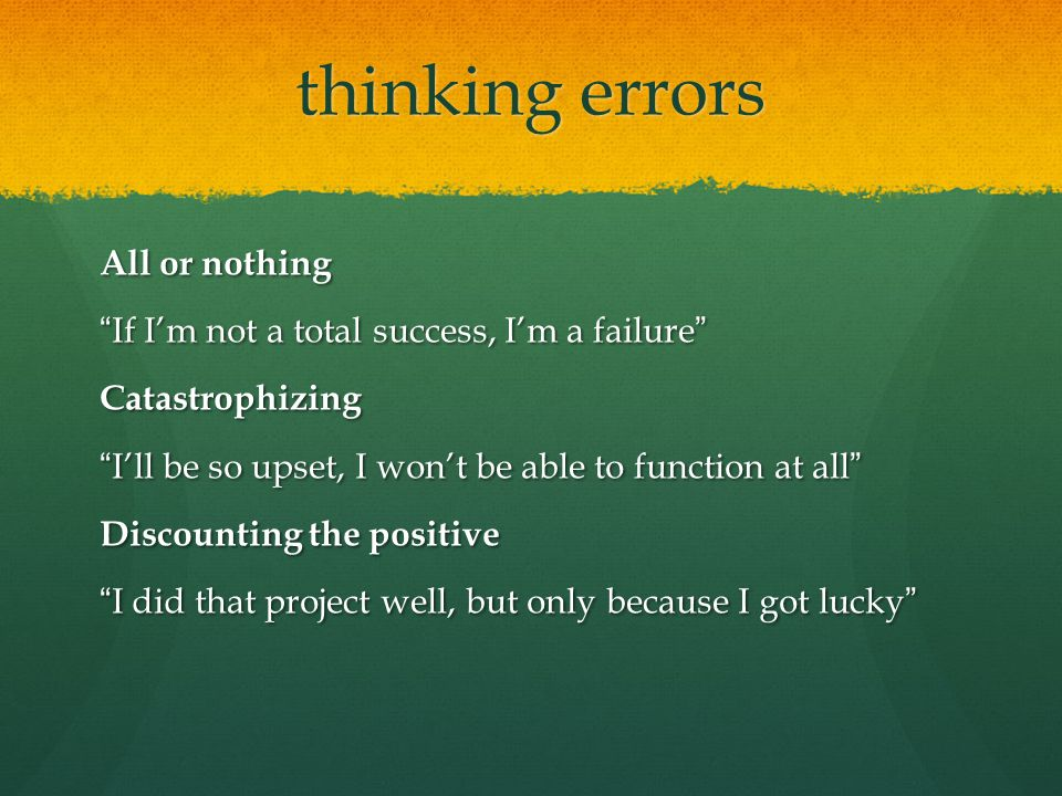 thinking errors All or nothing