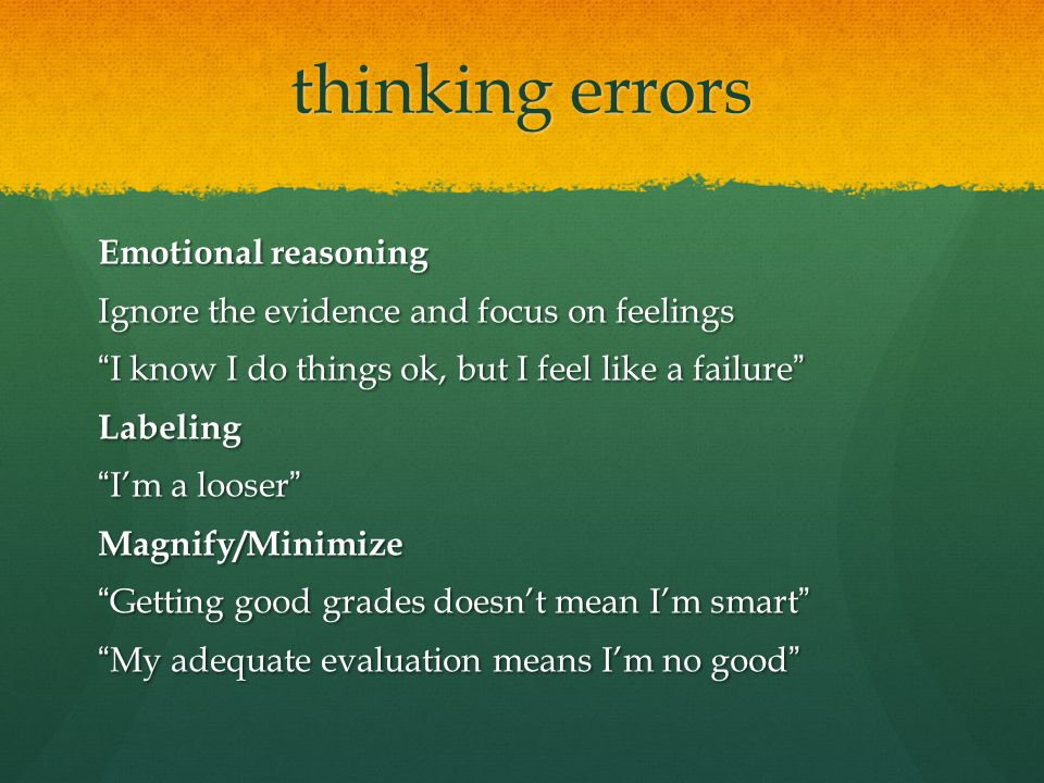 thinking errors Emotional reasoning