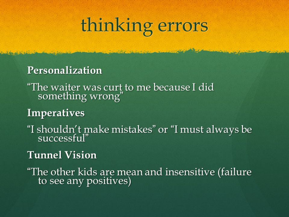 thinking errors Personalization