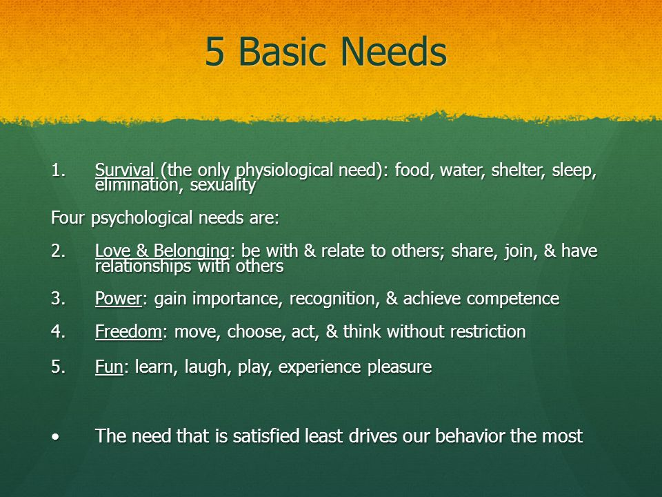 5 Basic Needs Survival (the only physiological need): food, water, shelter, sleep, elimination, sexuality.