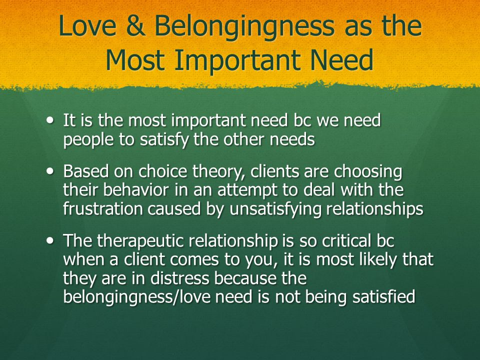 Love & Belongingness as the Most Important Need