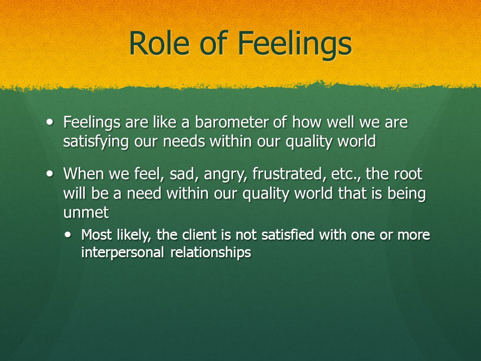 Role of Feelings Feelings are like a barometer of how well we are satisfying our needs within our quality world.