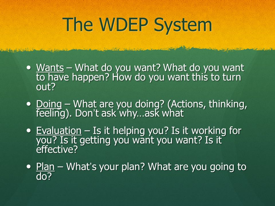 The WDEP System Wants – What do you want What do you want to have happen How do you want this to turn out