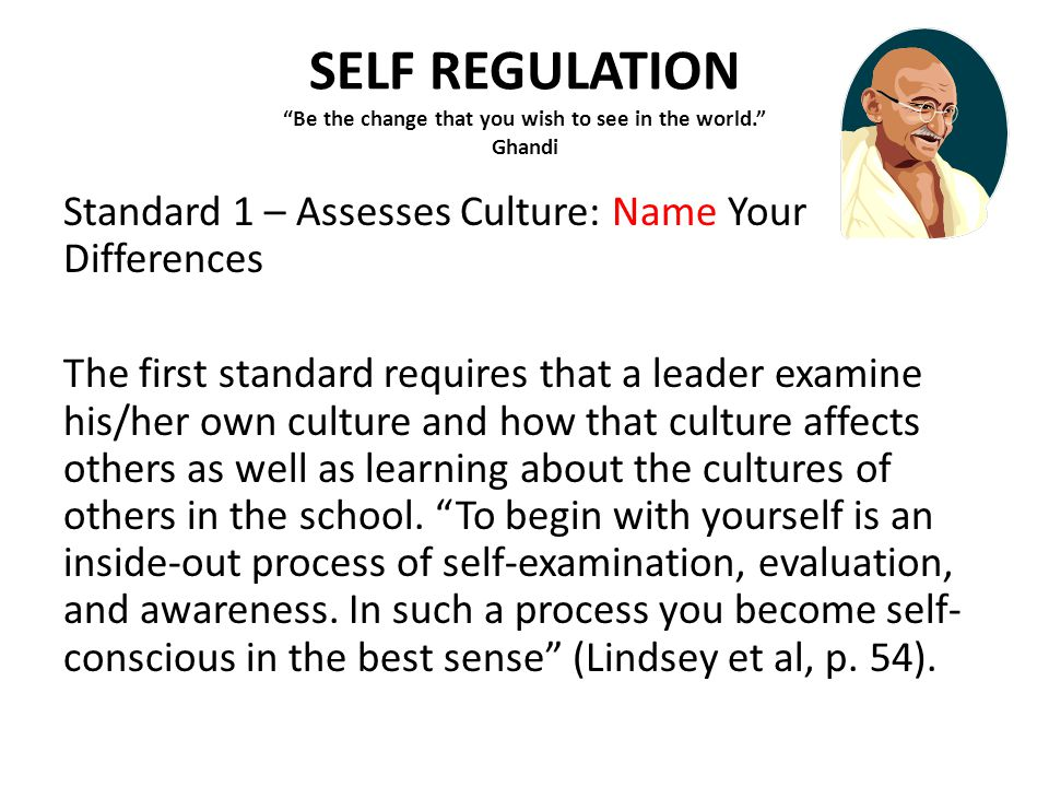 SELF REGULATION Be the change that you wish to see in the world