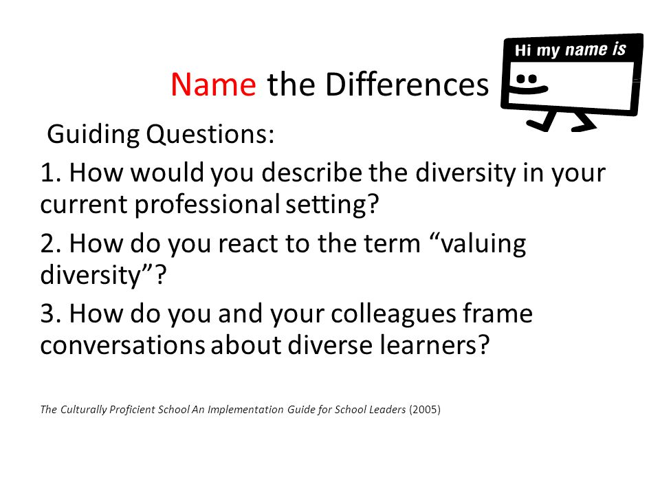 Name the Differences Guiding Questions: