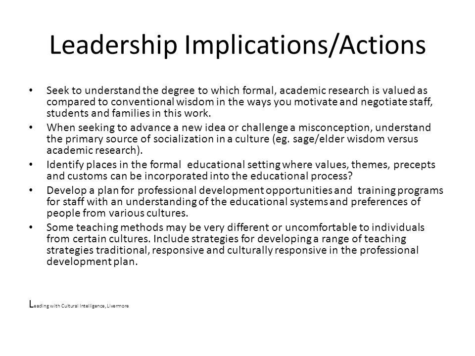 Leadership Implications/Actions