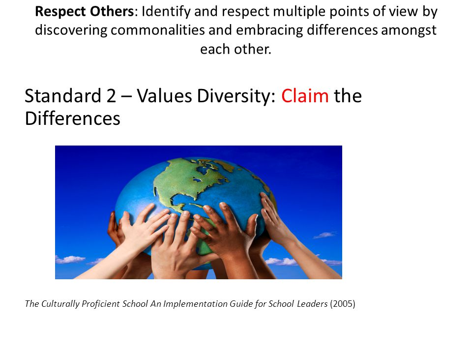 Standard 2 – Values Diversity: Claim the Differences