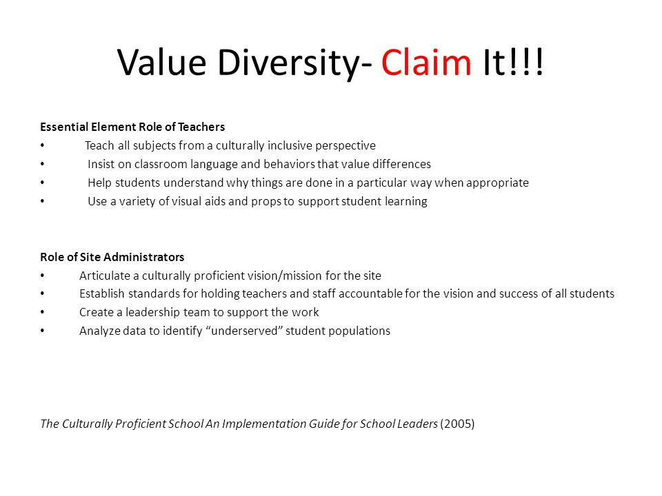 Value Diversity- Claim It!!!