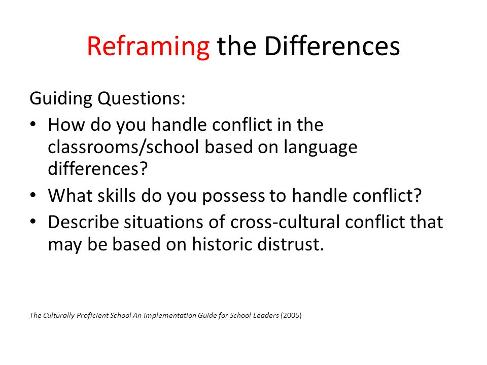 Reframing the Differences