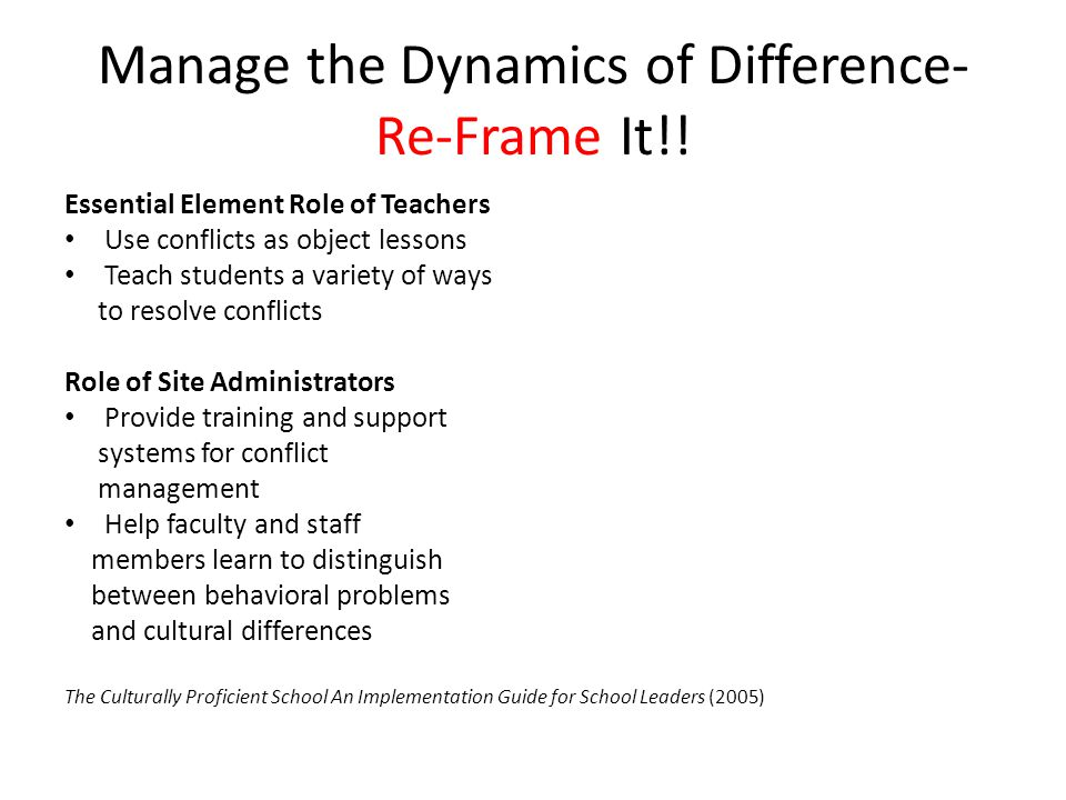 Manage the Dynamics of Difference-Re-Frame It!!