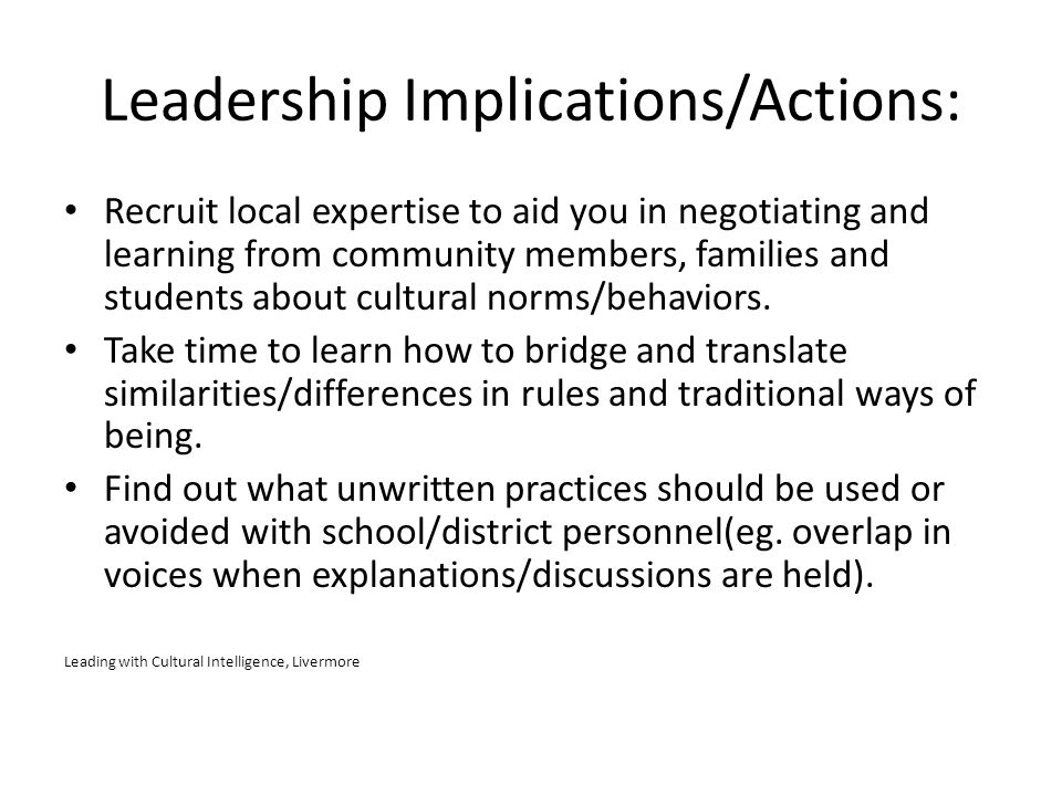 Leadership Implications/Actions: