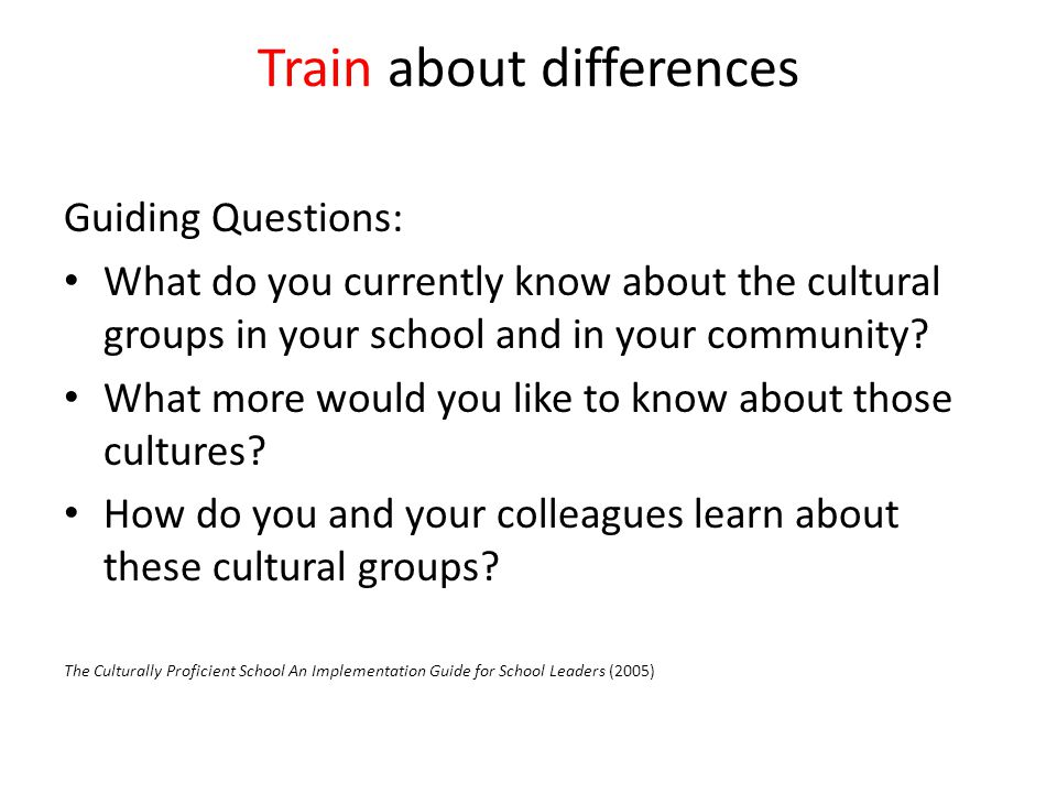 Train about differences