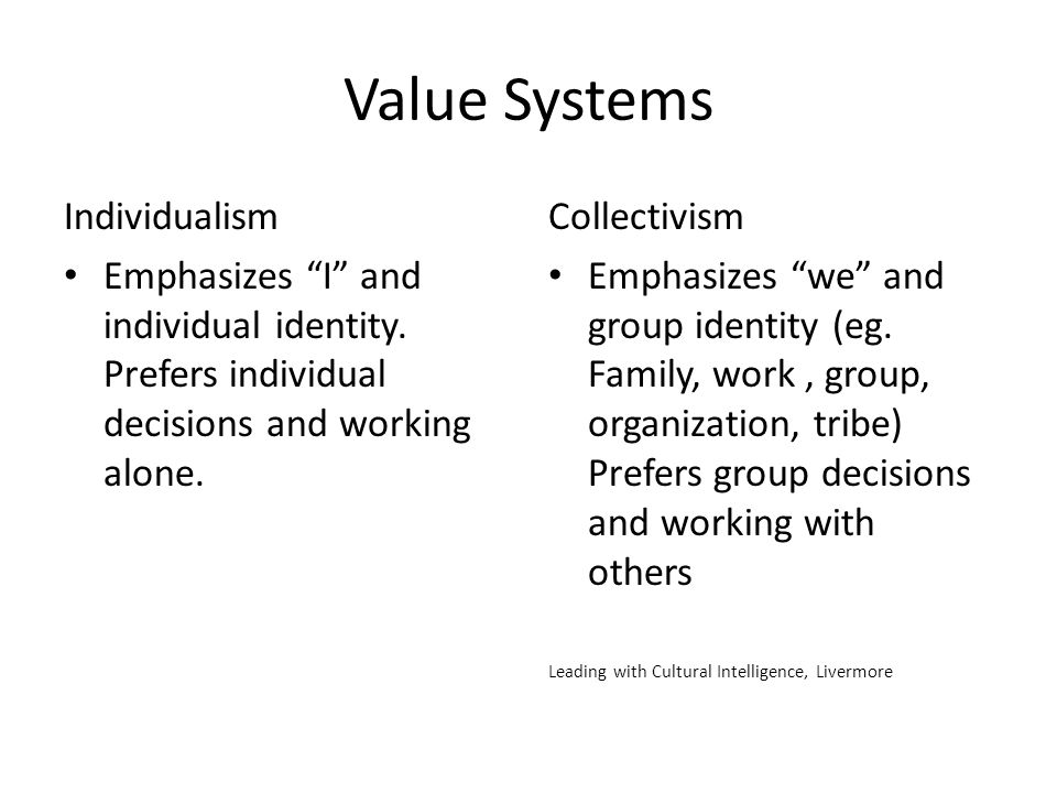 Value Systems Individualism
