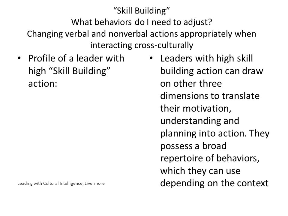 Profile of a leader with high Skill Building action:
