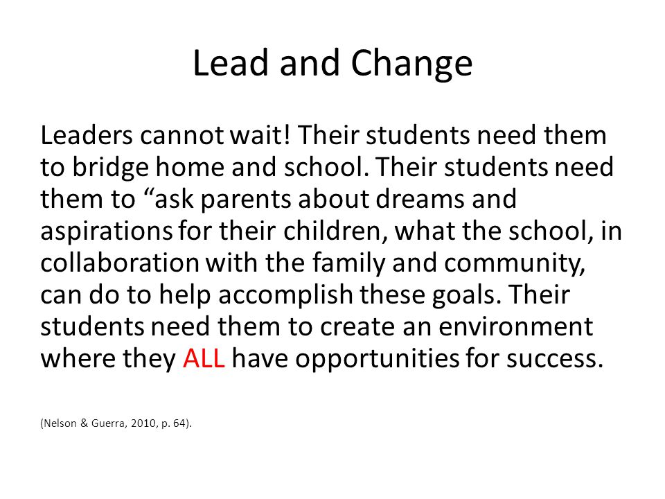 Lead and Change