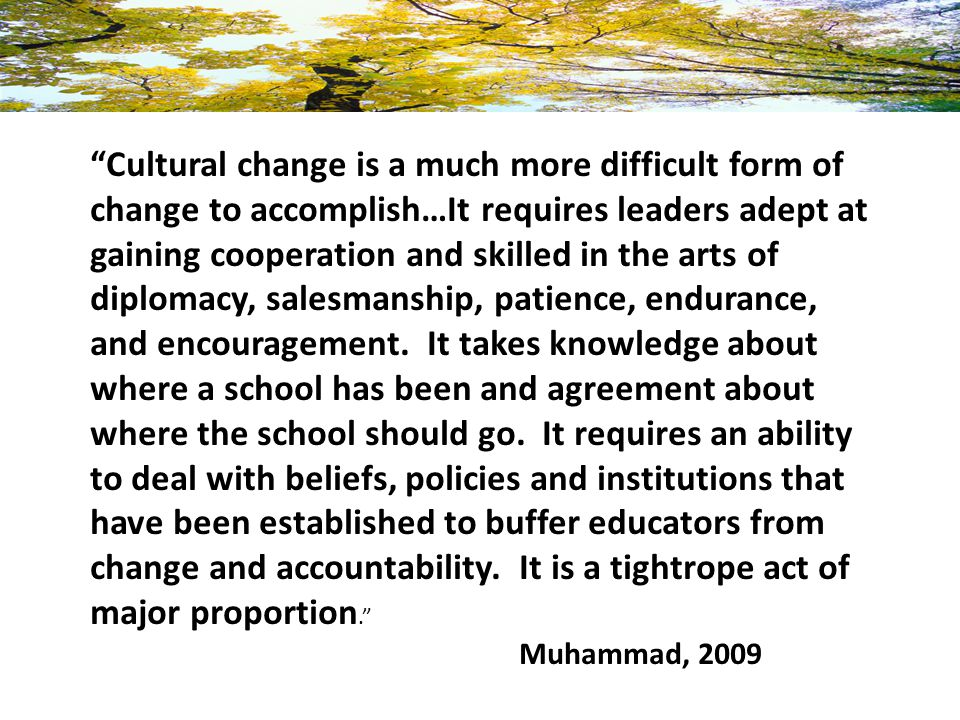 Cultural change is a much more difficult form of change to accomplish…It requires leaders adept at gaining cooperation and skilled in the arts of diplomacy, salesmanship, patience, endurance, and encouragement. It takes knowledge about where a school has been and agreement about where the school should go. It requires an ability to deal with beliefs, policies and institutions that have been established to buffer educators from change and accountability. It is a tightrope act of major proportion.