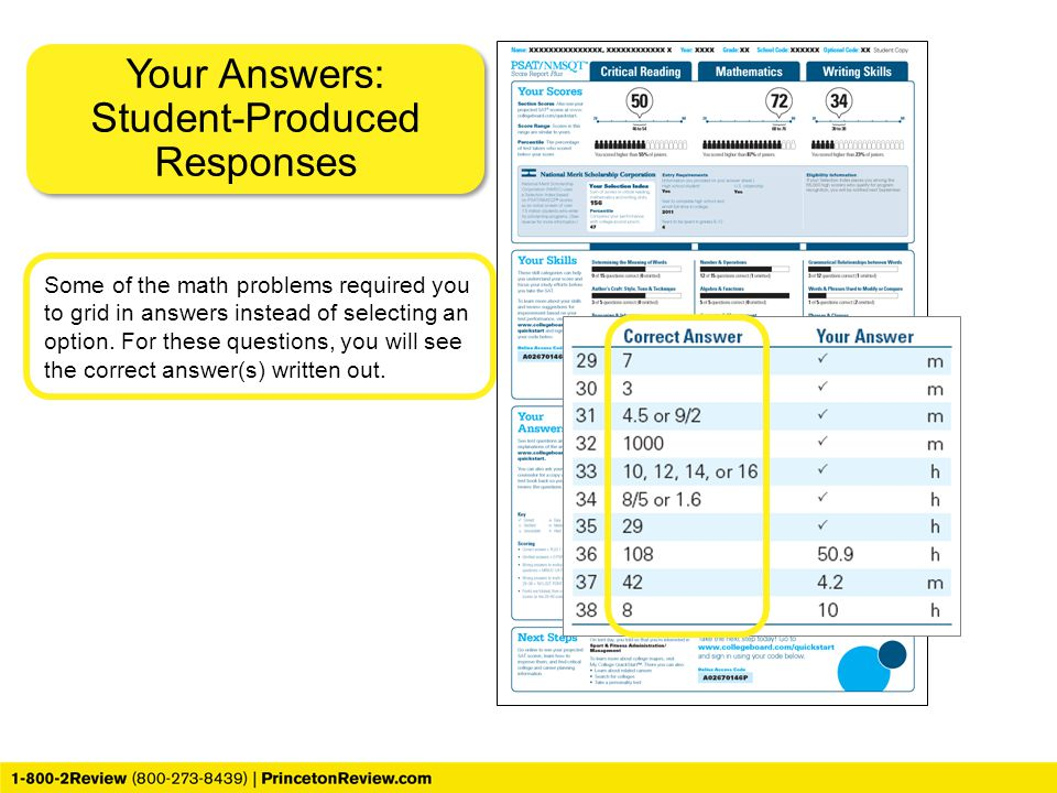 Your Answers: Student-Produced Responses