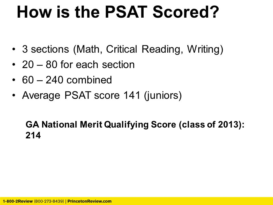 How is the PSAT Scored 3 sections (Math, Critical Reading, Writing)
