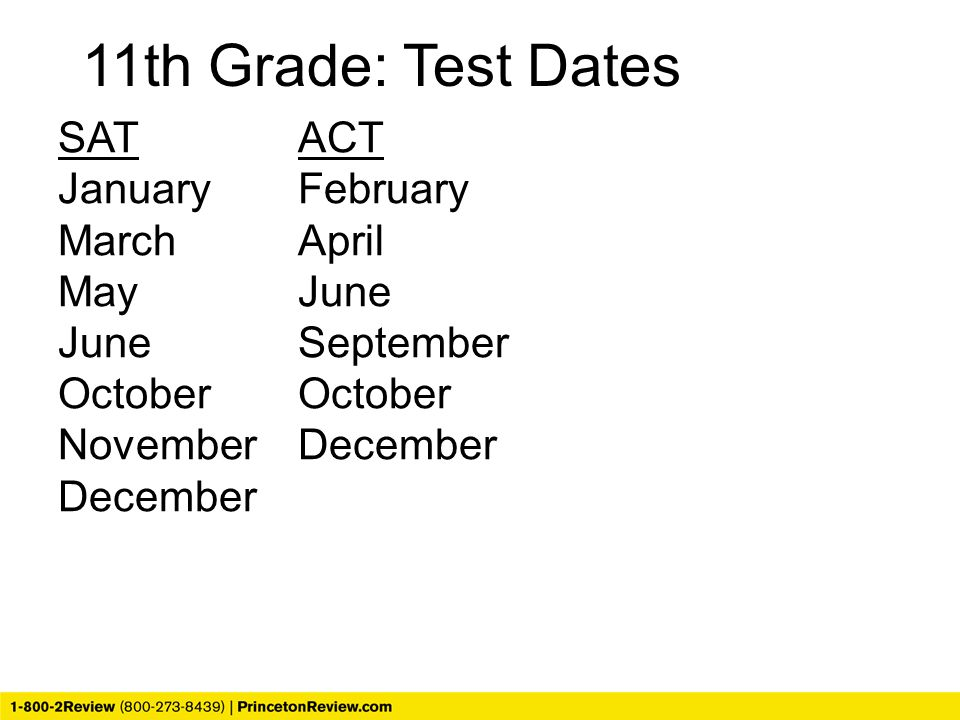 11th Grade: Test Dates SAT ACT January February March April May June June September October October November December December