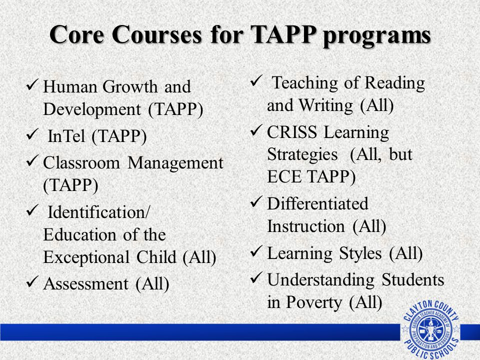 Core Courses for TAPP programs