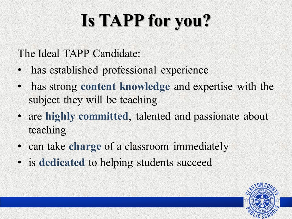 Is TAPP for you The Ideal TAPP Candidate: