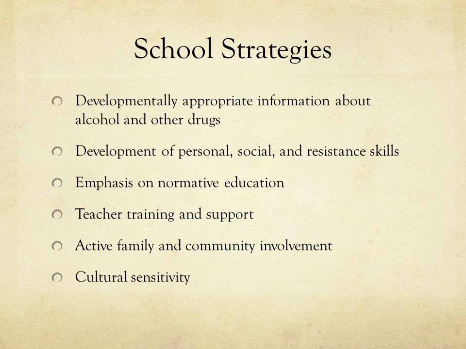 School Strategies Developmentally appropriate information about alcohol and other drugs. Development of personal, social, and resistance skills.