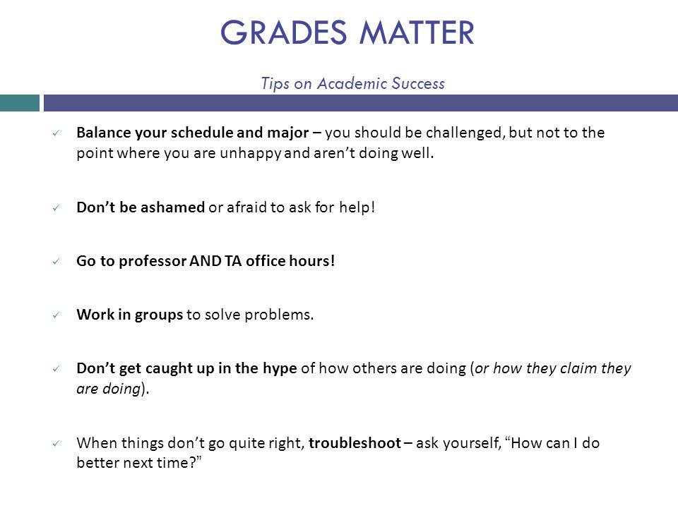 GRADES MATTER Tips on Academic Success