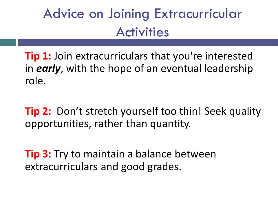 Advice on Joining Extracurricular Activities