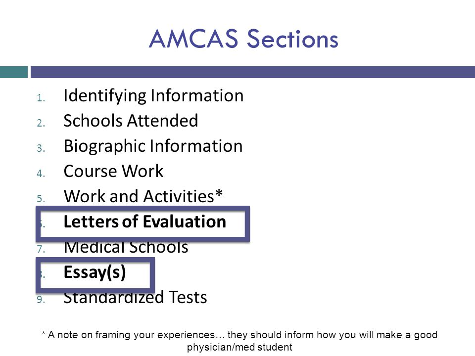 AMCAS Sections Identifying Information Schools Attended