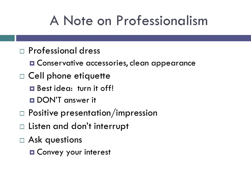 A Note on Professionalism