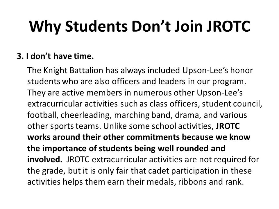 Why Students Don't Join JROTC