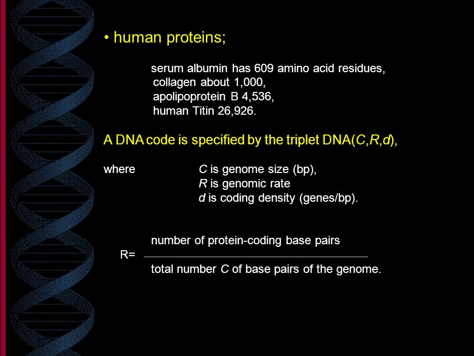 human proteins; A DNA code is specified by the triplet DNA(C,R,d),