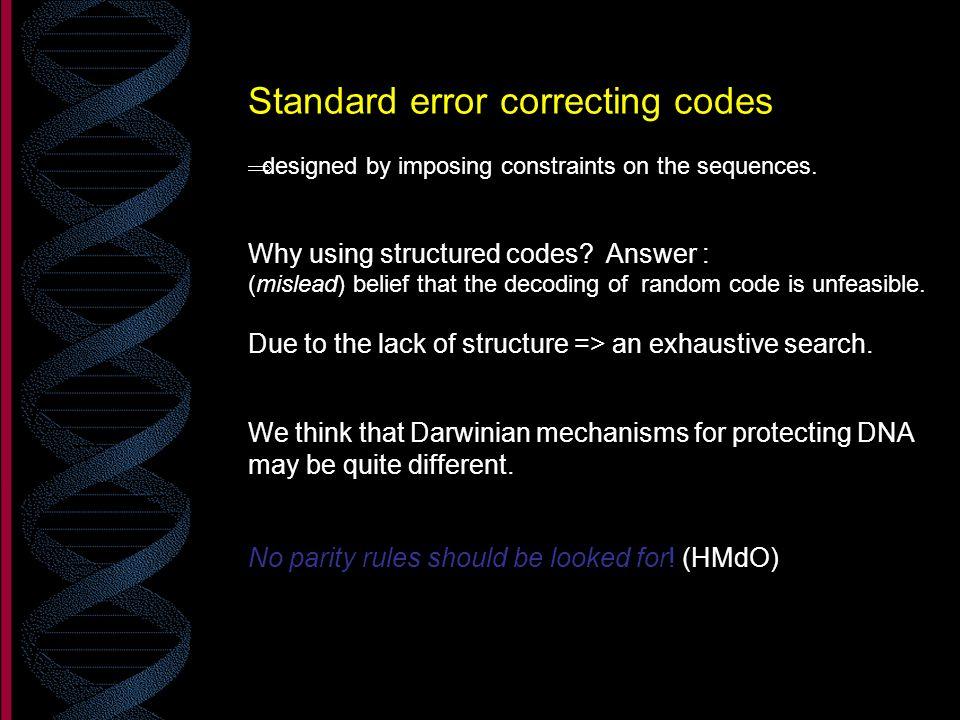 Standard error correcting codes