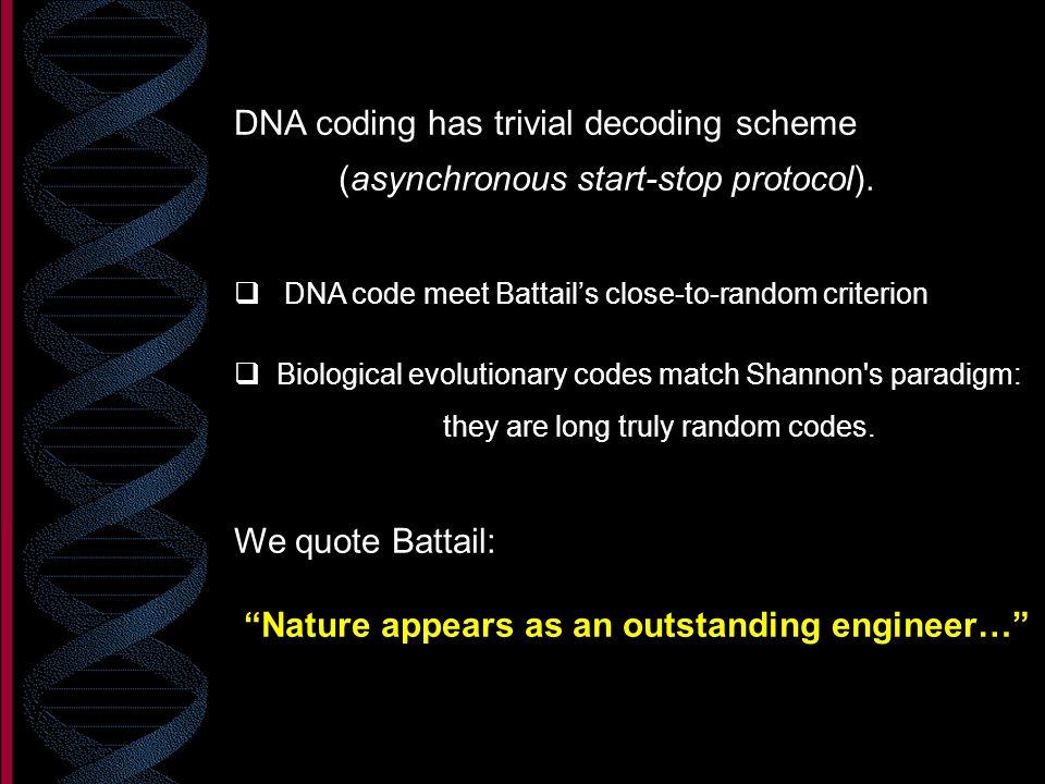 DNA coding has trivial decoding scheme